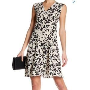 Vince black white spot confetti dress